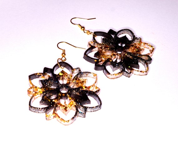 Black and Gold Glitter Cut Out Flower Dangle Earrings