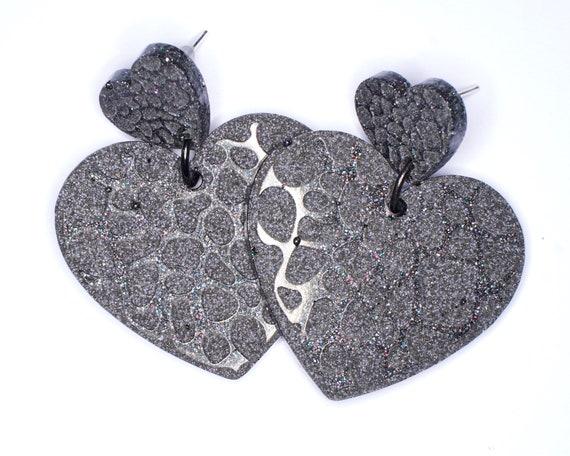 Grey Embossed Heart Earrings