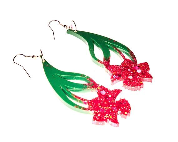 Large Pink Glitter Flower Earring Drops