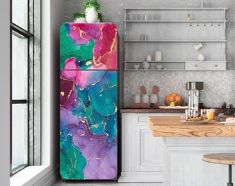 Multicolored  Marble Decal  Not Metallic Fridge Cover  Wall Fridge Stickers Peel  Stick, Self Adhesive Sticker Fridge Wrap, Modern   RD169