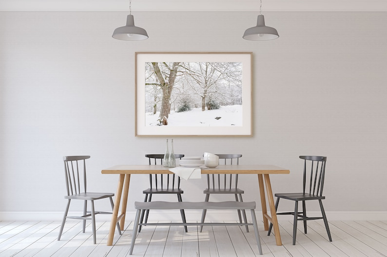 Winter photo drawing for interior decoration
