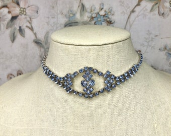 Vintage Dainty Rhinestone Choker Necklace Drop with 2 Protruding Side Stones Free USA Shipping and Tracking Included in Price