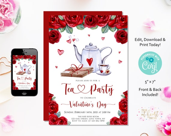Valentines Tea Party Invitation Valentines Day Party Invitation Galentines Day Invitation Valentine Bridal Shower Editable Template By Young At Heart Parties Catch My Party
