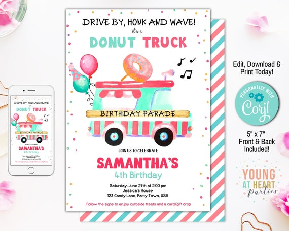 editable donut truck birthday