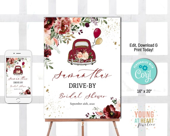 Instant Download Blush Pink Welcome Sign Editable Sign Drive BY Bridal Shower Sign Autumn Bridal Shower Bridal Shower Welcome Sign