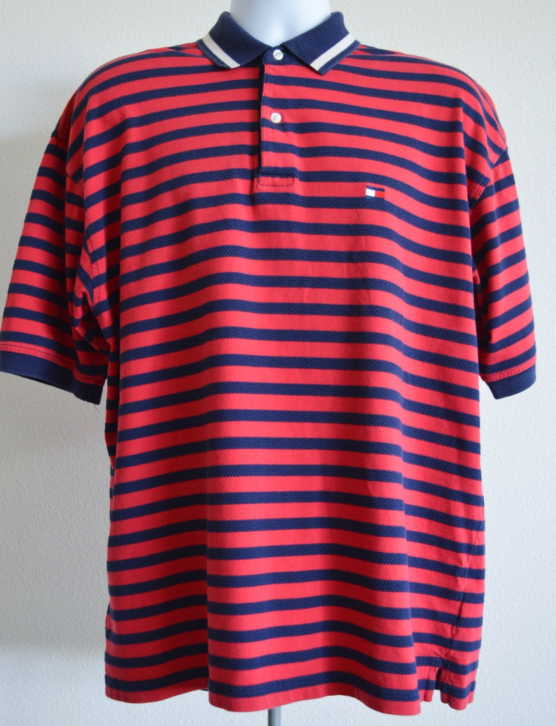 Size Xl Vintage Striped Red Blue Rugby 90s Tommy Hilfiger Polo Shirt