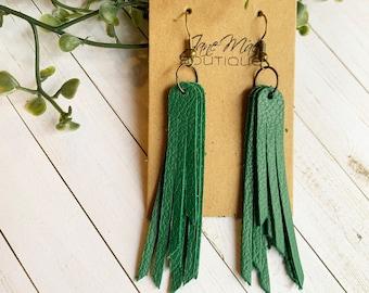 Statement Earring, Green Leather Earrings, Leather Earrings, Green Earrings, Genuine Leather, Women's Gift, Tassel Earring, Bold Jewelry