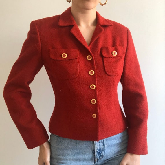Vintage Chanel Inspired Red Boucle button up Blaz… - image 1