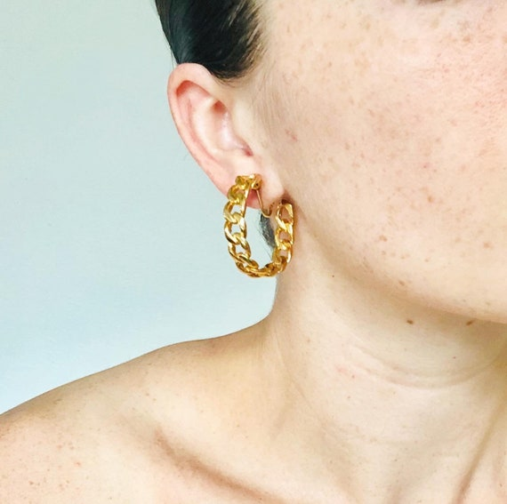 Stunning Vintage Statement Earrings, Vintage Chain