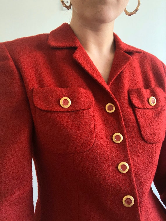 Vintage Chanel Inspired Red Boucle button up Blaz… - image 6