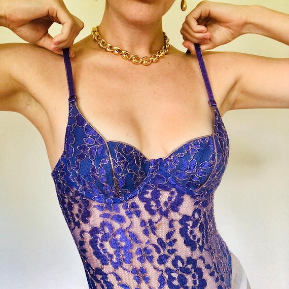 Vintage Gold Label Victoria's Secret Purple Lace C