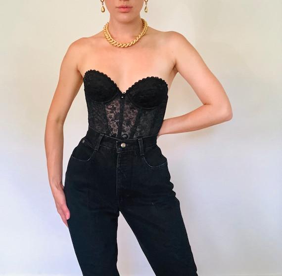 Vintage High Rise Black Denim Jeans, High Waisted… - image 5