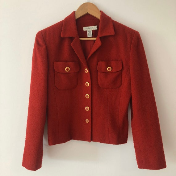 Vintage Chanel Inspired Red Boucle button up Blaz… - image 9