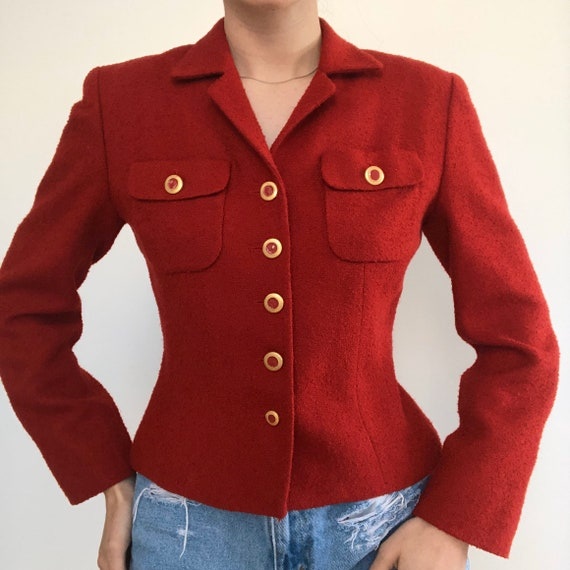 Vintage Chanel Inspired Red Boucle button up Blaz… - image 4