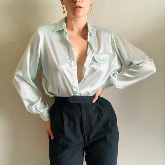 CACHAREL vintage silky button down black blouse with long sleeves and oversized collar  s  m  1990s