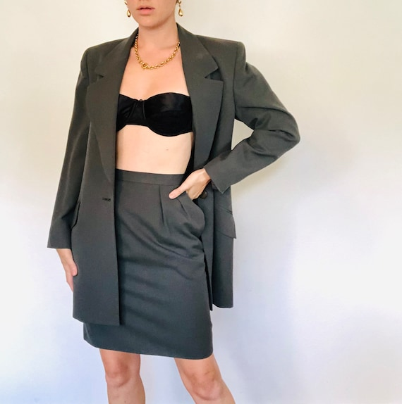 Vintage 1990s Olive Green Skirt Suit, Iconic Style