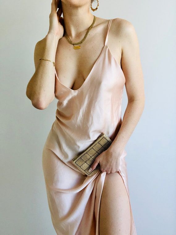 Vintage Made in Italy Silky Slip Maxi Dress