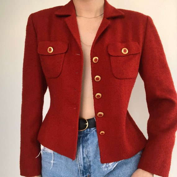 Vintage Chanel Inspired Red Boucle button up Blaz… - image 2