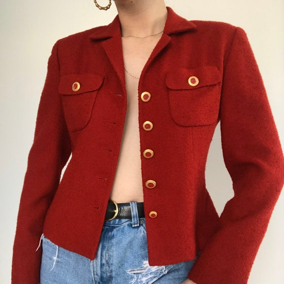 Vintage Chanel Inspired Red Boucle button up Blaz… - image 3