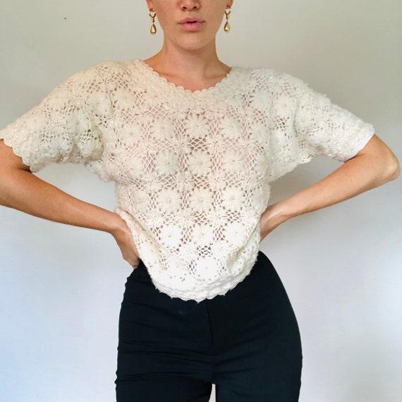 Vintage Handmade Cyn Les Beaded Knit Floral Sweate