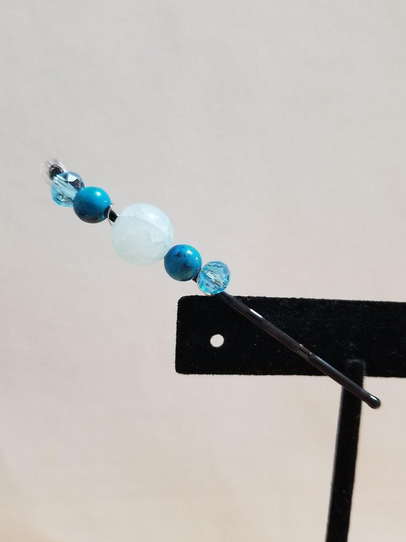 Blue Stone Decorative Bobby Pin