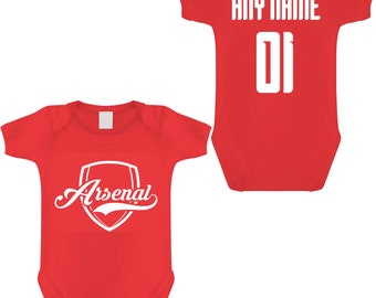 Inspired Arsenal/'s Prettiest Fan Personalised Football Babygrow Girls Gift
