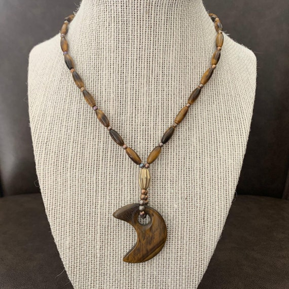 Tiger Eye Gemstone Necklace; Tiger Eye Half Moon P