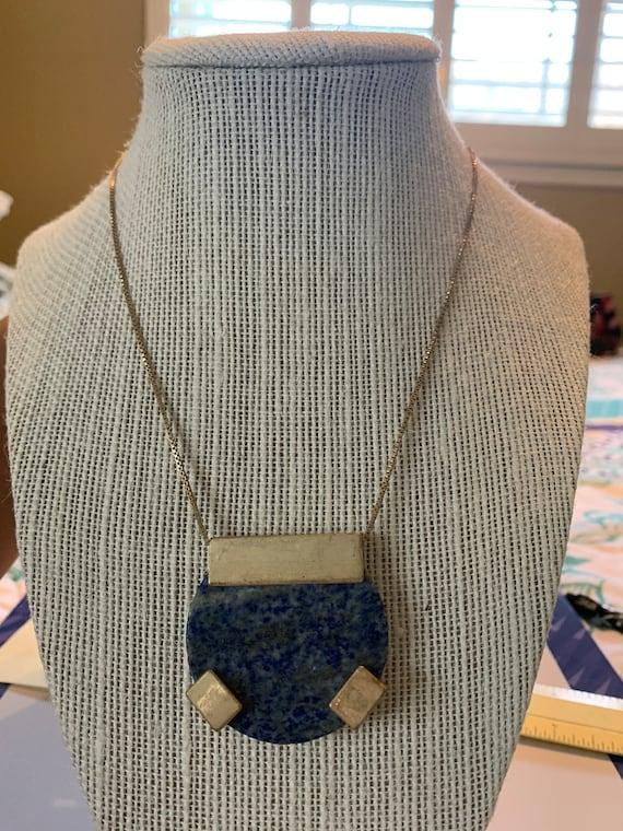 Lapis Lazuli Necklace, Lapis Lazuli Round Pendant