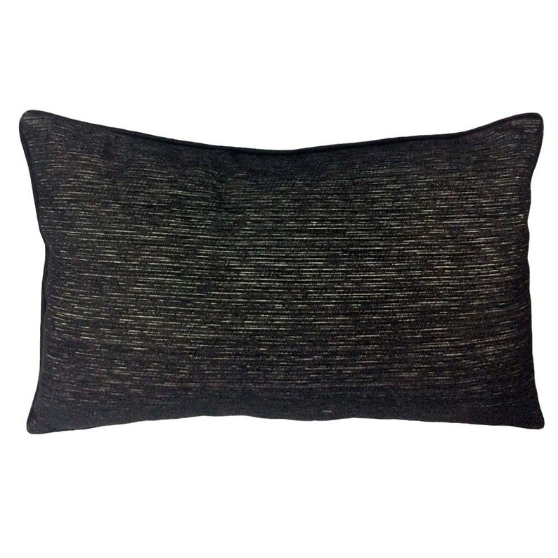 Patio Couch Sofa Faux Leather TexturedStriated Black 14x24 Lumbar Pillow Cover with Black Satin Piping and Black Chenille back for Home