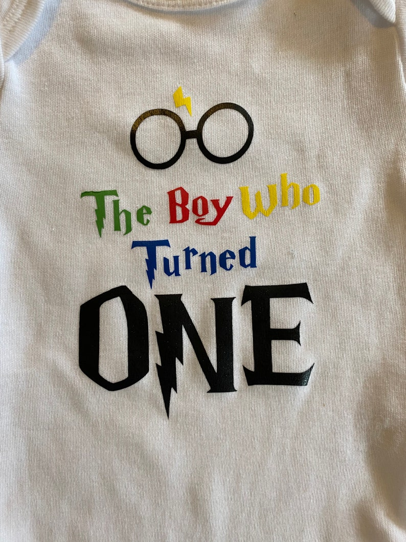 12 month onesie custom made Harry Potter the boy who turned one