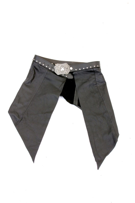 Goth Asymetrical Skirt / Leather Wrap Skirt / West