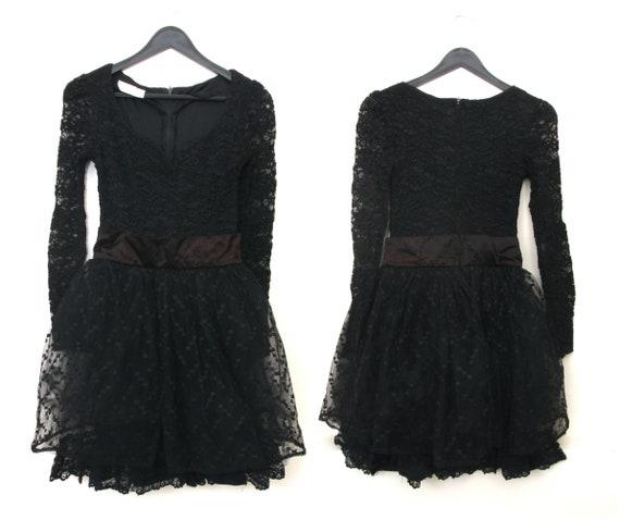 Vintage Goth Lolita Dress / Tulle Sweetheart Dress