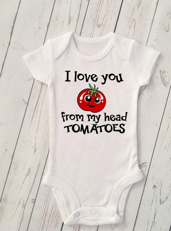 Cute Baby Onesie Reveal Onesie Tomatoes Onesie Tomatoes Onesie Foodie Onesie I Love You From My Head Tomatoes Onesie Funny Baby Onesie