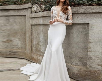 Mermaid Wedding Dress Etsy,Beach Wedding White Maxi Dress