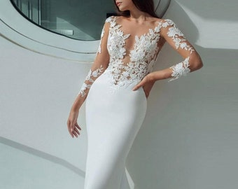 Long Sleeve Mermaid Wedding Dress Etsy