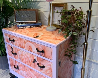 NOT FOR SALE - example only : Flamingo luxecycled antique retro chest of drawers