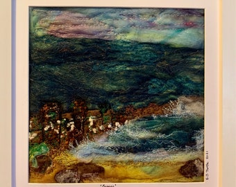 Needle felted 2D seascape in scallop shell