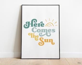Wall Art, Here Comes The Sun, The Beatles, Lyrics, Digital Download