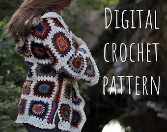 Granny Square Rebecca Jacket Digital Crochet Pattern