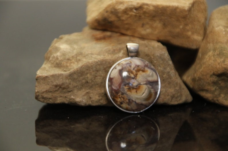 20 mm Sterling Silver Gemstone Pendant Boho Necklace Natural Rock Gem Nature Jewelry Plume Agate Handmade Stone Cabochon