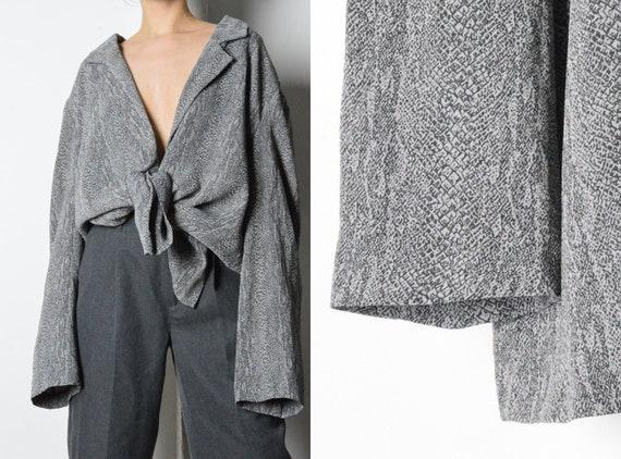 Vintage 80s Grey Snake Print Blazer Style Blouse S