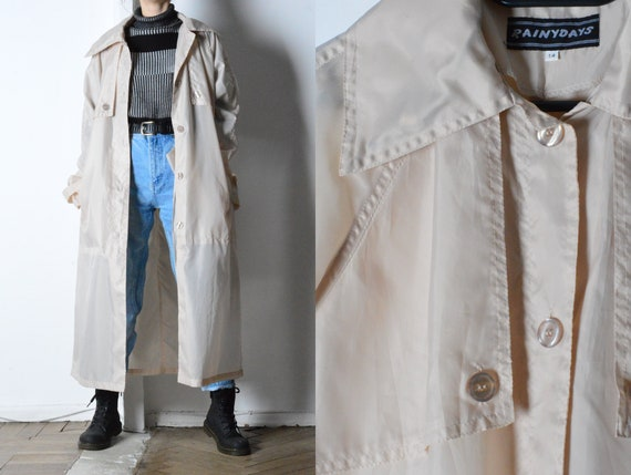 Vintage 90s Beige Lightweight Shell Trench Coat Wi