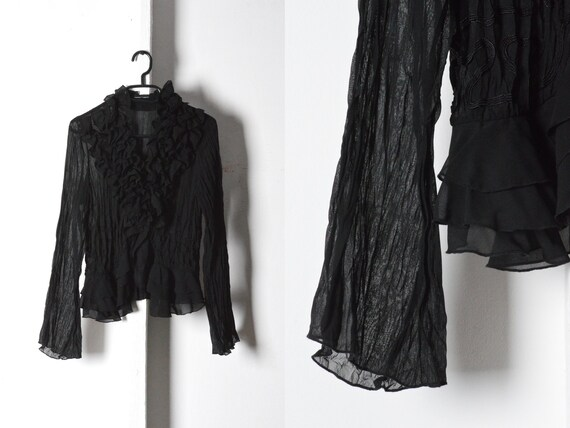 Y2K Black Crinkled Ruffle Collar Tie Blouse Size S