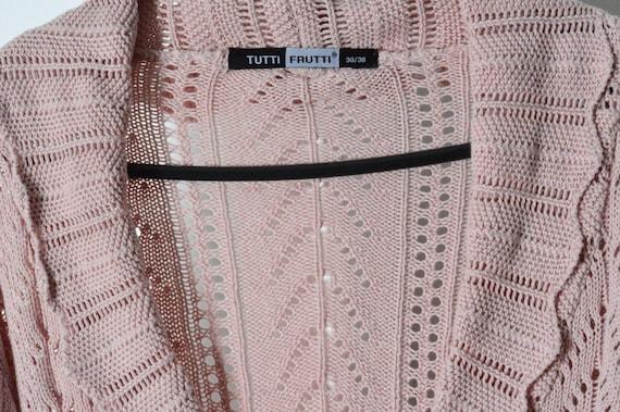 Vintage 90s Pastel Pink Knit Bell Sleeve Cropped … - image 4