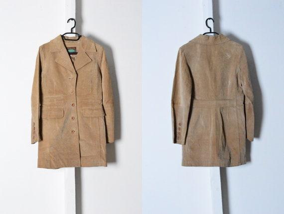 Vintage 90s Beige Minimalist Leather Coat Size XS
