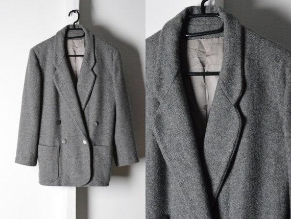 Vintage 80s Grey Minimalist Blazer Style Jacket Si