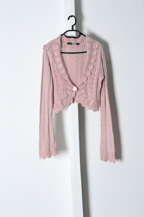Vintage 90s Pastel Pink Knit Bell Sleeve Cropped … - image 2
