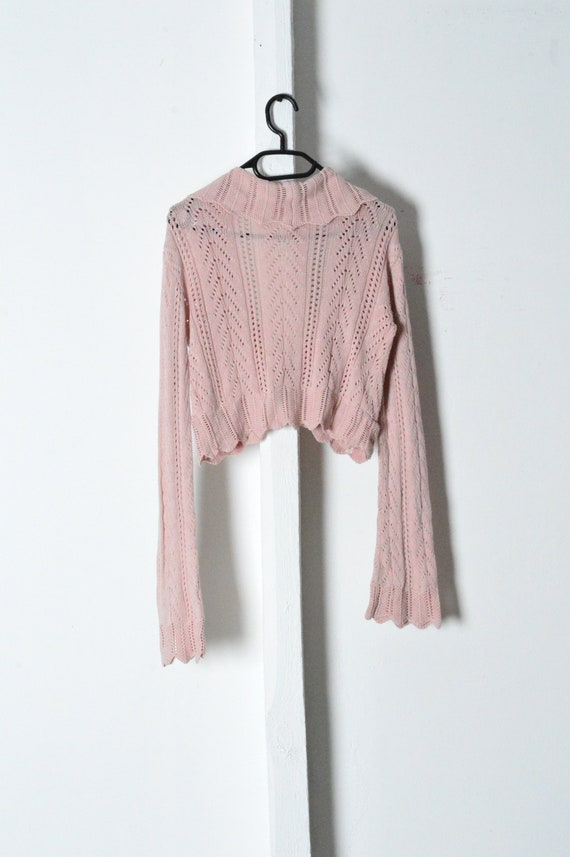 Vintage 90s Pastel Pink Knit Bell Sleeve Cropped … - image 6