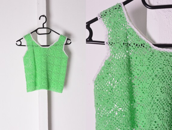 Vintage 70s Lime Green Crochet Top Size XS