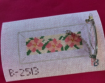 Hand painted Needlepoint Beach Attire Barrette or Mini Key Fob 18 count canvas